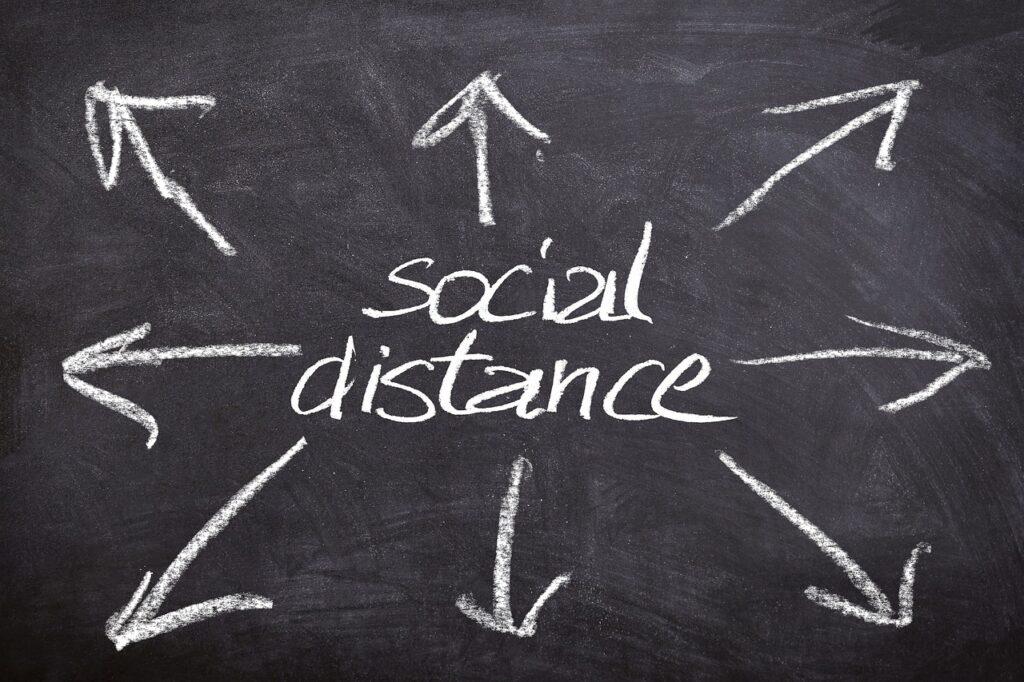 social distancing diagram on chalkboard